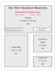 New Franklin Register Ad Rates  Fall 2014  (Click to download rate sheet)