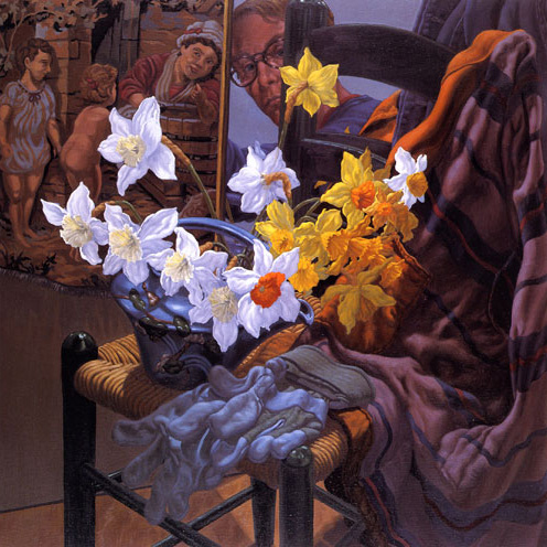 Jack Beal - Self Portrait with Daffodils