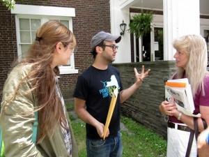 GASLAND II director Josh Fox speaks with fractivist Tammy Reiss at the Walton Theatre in June. Photo by Helen McLean