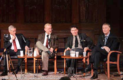 L to R, Lou Allstadt, Jerry Acton, Brian Brock and Chip Northrup. Photo, Courtesy New York Society for Ethical Culture.