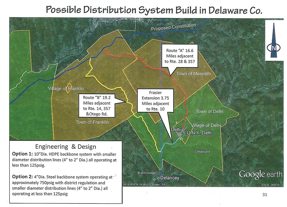 Possible natural gas distribution line to run from the proposed Constitution Pipeline through Franklin to industry in Fraser, Town of Delhi