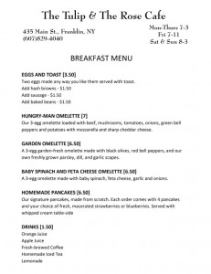 The Tulip and the Rose Cafe breakfast menu