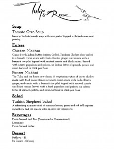 The Tulip and the Rose Cafe dinner menu