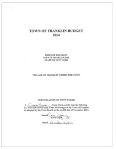 Franklin NY Budget 2014 (PDF)