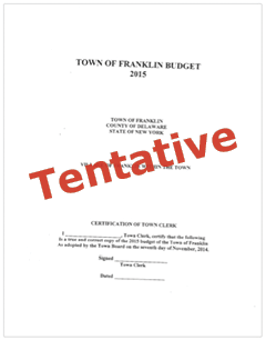 Franklin NY Budget 2015 (Tentative)
