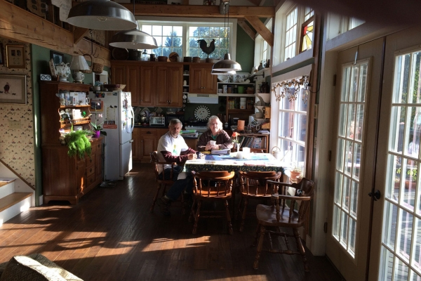 Don and Louise Hebbard in their sun-warmed dining room
