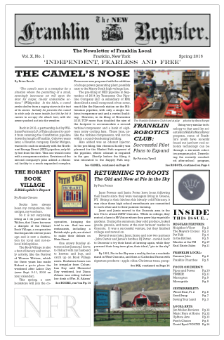 New Franklin Register #28 (PDF 6MB) click to download