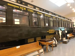 Warwick train car on display at the Franklin Railroad and Community Museum